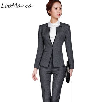 Women 2 Piece Business Blazer Suit Set Winter Autumn Slim Professional Pant Suits Fashion Formal Ladies Office Work Wear