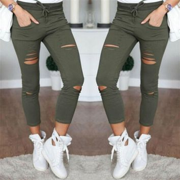 2017 Skinny Jeans Women Denim Pants Holes Destroyed Knee Pencil Pants Stretch Ripped Jeans Casual Trousers