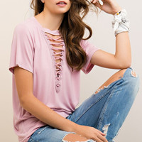 Lace Up Top - Dusty Rose