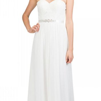 Starbox USA L6145 Lace Sweetheart Neckline Off White Chiffon A-Line Bridesmaids Gown Strapless