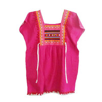 "Hot pink shirt Tribal shirt blouse with strap hill tribal Korean style Bust 40"" Square collar shirt ,pom pom shirt Embroidered shirt women"