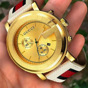 Gucci watch with round watch - a watch that makes you unique Best Gift White&gold dial