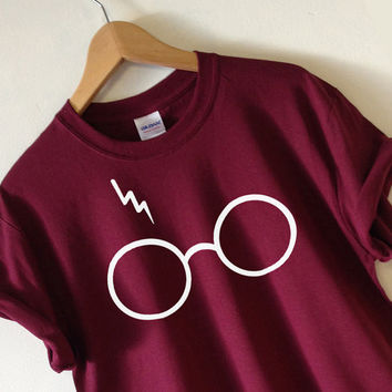 2016 New Harry Potter T Shirt Women Lightning Glasses Funny Printed Design Short Tee Shirt US Standard Plus Size S-XL
