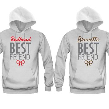 Brunette Best Friend and Redhead Best Friend Girl BFFS Hoodies
