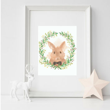 Kids WAll Art, Cute Rabbit Wall Art, Nursery Art, Wall Decor, Baby Room Decor, Print Wall Art, Nursery Wall Art, Nursery, Baby Decor