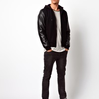 ASOS | ASOS Hooded Bomber Jacket With Faux Leather Sleeves at ASOS