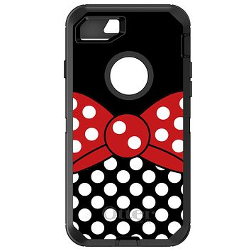 DistinctInk™ OtterBox Defender Series Case for Apple iPhone or Samsung Galaxy - Black White Polka Dot Red Bow Minnie