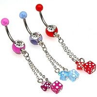 14g Dangling Dice Dice Belly Button Ring Dangle Navel Body Jewelry Piercing with Surgical Steel Curved Barbell 14 Gauge