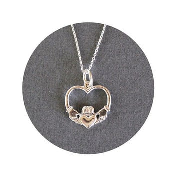 Sterling Silver Claddagh Necklace - Irish Jewelry - Claddagh Jewelry - Love Friendship Loyalty - Crown Jewelry