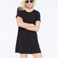 Socialite Solid Womens T-Shirt Dress Black  In Sizes
