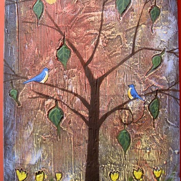 "landscape textured love bird art wall sculpture ""Garden of Delights"" original canvas pop abstraction impasto art tree of life blossom"