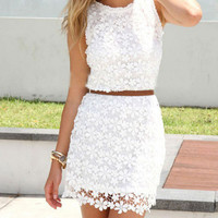 Summer White Lace Dress, Casual Mini Dress