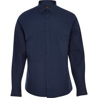 River Island MensNavy blue long sleeve poplin shirt