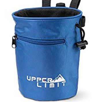 Upper Limit Chalk Bag for Rock Climbing, Weightlifting, Bouldering & Gymnastics - Carabiner Clip - 2 Large Zippered Pockets for the Iphone or Samsung Galaxy!