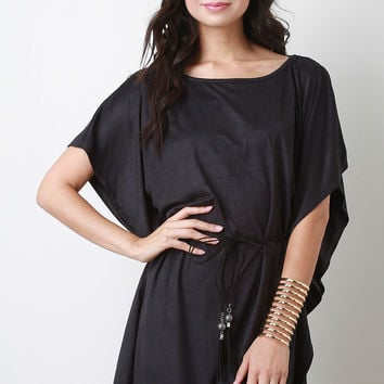 Casual Suede Belted Poncho Mini Dress