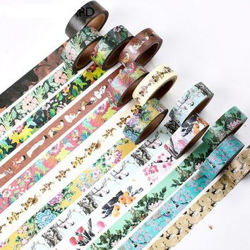 2017 New Designs 15mm X 7m Vintage Flower Decorative Washi Tape DIY Scrapbooking Masking Tape School Office Supply