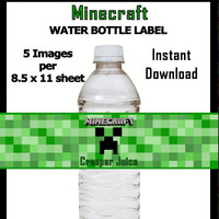 Minecraft Creeper Juice Water Bottle Wrap for Birthdays, Parties and More
