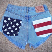 High waisted denim shorts Levis US American Flag Stars and Stripes studded jeans Custom Made To Order by Jeansonly