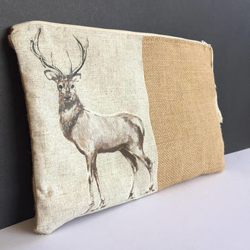 DEER CLUTCH bag/Animal Clutch/Bohemian bag /JUTE Clutch/Handbag/Zipper Clutch/Rustic Deer Bag /Jute-Deer Bag/Gift For Her