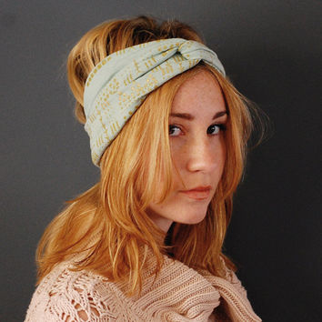 Giza Turban - in Seafoam and Metalic Gold - Boho Earwarmer Turban Headband Scarf - Modern Hand Printed Jersey by Bark Decor