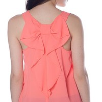 Chiffon Tank with Bow Detail Back - Coral from Casual & Day at Lucky 21 Lucky 21