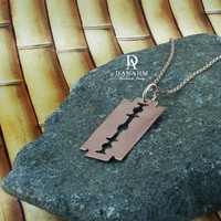 Razor Blade Necklace, Sterling Silver, Rose Gold Plated, NE004C