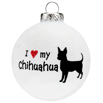 Chihuahua I Heart Round Glass Ornament