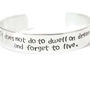 book quote half inch aluminum custom text metal stamped cuff bracelet wizard magic fandom