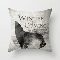 Game of Thrones - House Stark Throw Pillow by MUSENYO