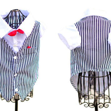 [Red Bow Tie] Dog's striped Shirt Pet Clothing Puppy Clothes Pet Apparel (MM)