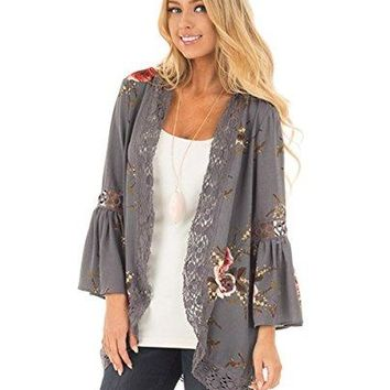 Perkisboby Womens Summer Bell Sleeve Crochet Lace Trim Floral Printed Kimono Cardigan Cover up
