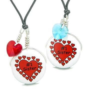 Love Couples or BFF Set Cute Ceramic #1 Sister Lucky Charm Blue Red Hearts Amulet Adjustable Necklaces