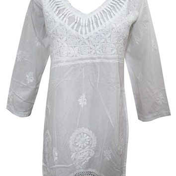 Mogul Interior Womens White Tunic Handmade Floral Embroidered Crochet Lace Work Top Blouse Beach Cover up
