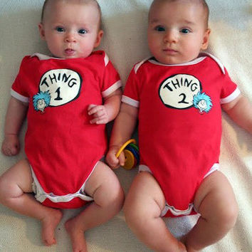 Thing 1 or Thing 2 Dr Seuss Inspired Patch Baby Infant Unisex Red Onesuit