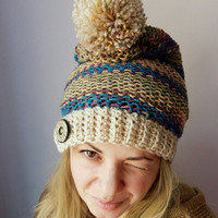 Button Knit Hat Beige Womens Hat Knit Beanie Hat Slouchy Hat Blue Crochet Hat Pompom Hat Colorful Hat Womens Winter Hat Gift for Her