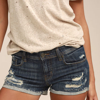 Lexi Dark Wash Distressed Denim Shorts