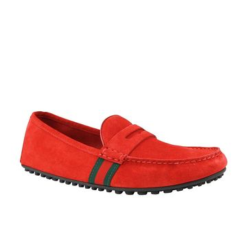 Gucci Driver Loafer Red Suede Shoes GRG Web Detail 407411 6460