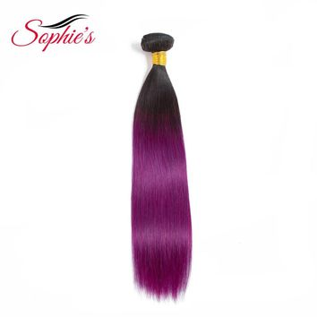Sophie's Pre-colored Ombre Bundles T1B/Purple Color 1 Bundles Hair Malaysian Human Hair Non-Remy Straight Hair Hair Extensions