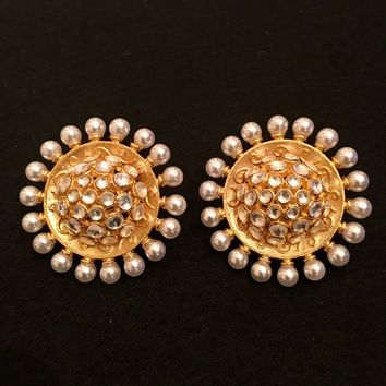 Handmade Dome Design Round Kundan And Pearl Stud Earrings