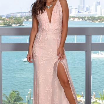 Pink Embroidered Maxi Dress with Side Slit