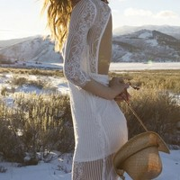 For Love & Lemons Rosette Dress in White
