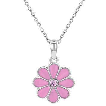 925 Sterling Silver Pink CZ Enamel Daisy Flower Necklace Pendant for Girls 16""
