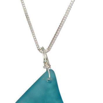 "Sterling Silver 18"" Teal Aqua Ocean Blue Freeform Sea Glass Pendant Necklace"