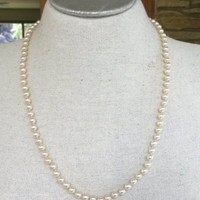 "Vtg Glass Pearl Single Strand Necklace Matinee Hand Knotted 24.75"" 6mm"