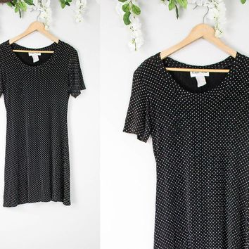Vintage Polka Dot Black Shift Dress