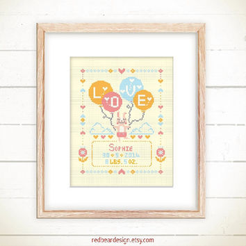 Birth Announcement cross stitch pattern - Little Bunny with Balloon LOVE -Xstitch- Cute Modern Baby Girl Boy Birth Record Personalized gift