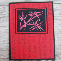 Bamboo Greeting Card, Handmade Notecard with Chinese Characters, Red and Black, Any Occasion Card, Far Eastern Inspiration, Oriental Design
