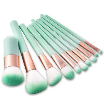 10pcs/lot Makeup Brush Tools Face Eyeshadow Foundation Make Up Brushes Beauty Set Blush Professional Kit Brand New Hot Selling
