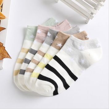 Women Girls Candy Color Stars Stripes Breathable Stretchy Cotton Ankle Boat Socks