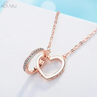 AOMU 2018 Crystal Rhinestones Love Heart Chain Chocker Necklace for Women Collana Kolye Bijoux Collar Mujer Collier Charm
